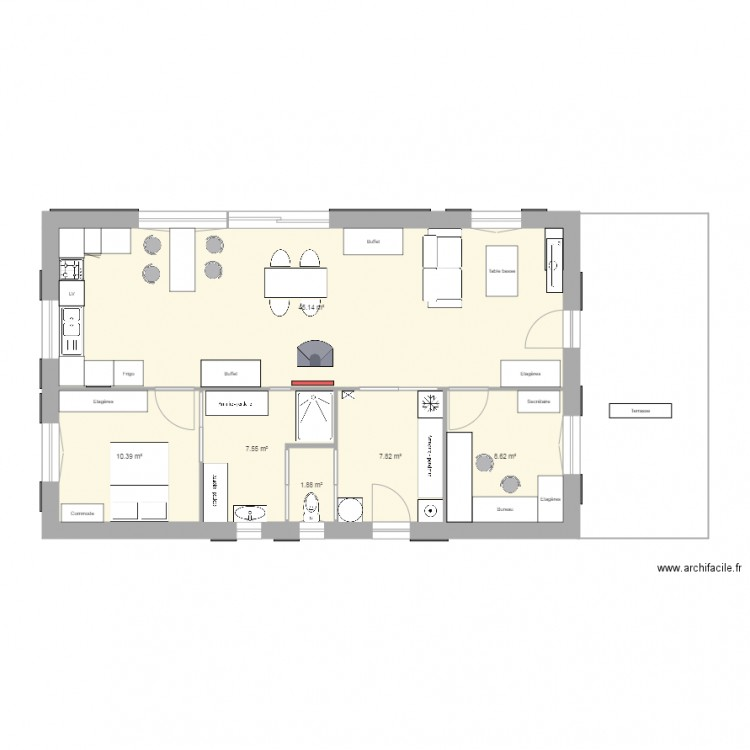 Maison plan 2 plan 6 pi ces 81 m2 dessin par masdeferry - Plan de maison 2 pieces ...