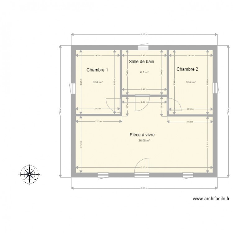 plan 8x8 plan 4 pieces 49 m2 dessine par capdebiou With nice dessiner plan de maison 15 boussole 4
