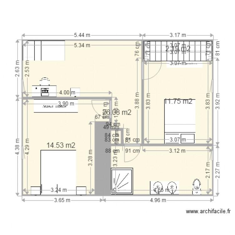 Extension salle de bain longilign plan 4 pi ces 55 m2 for Salle de bain 4 m2