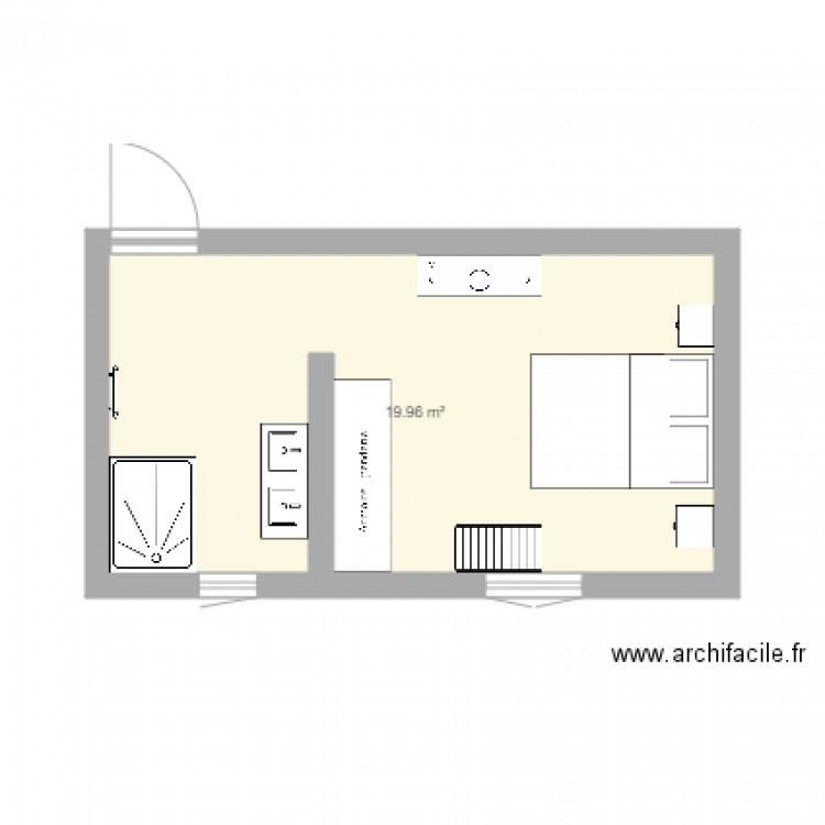 suite parentale plan 1 pi ce 20 m2 dessin par emilieelbahi1984. Black Bedroom Furniture Sets. Home Design Ideas