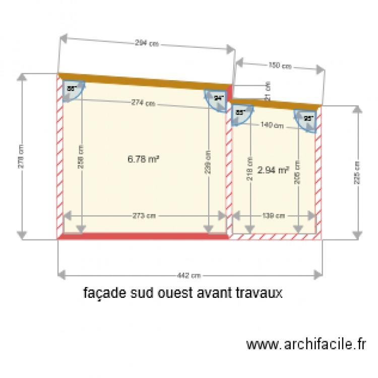 fa ade sud ouest avant travaux plan 2 pi ces 10 m2 dessin par valje. Black Bedroom Furniture Sets. Home Design Ideas