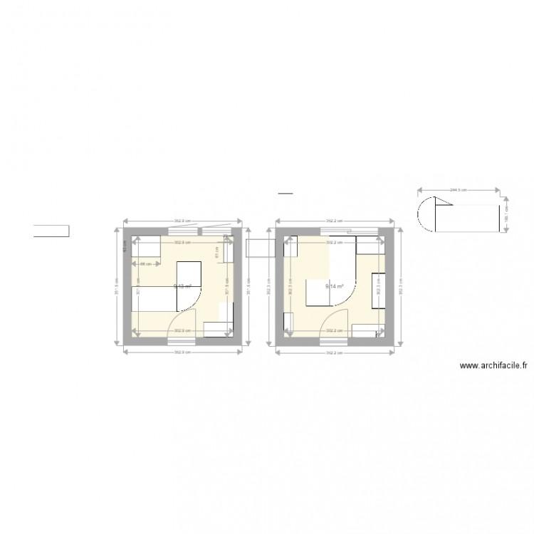 Bureau 1 plan 2 pi ces 18 m2 dessin par sangag for Nombre de m2 par personne bureau