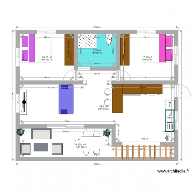 maison plan 5 pi ces 70 m2 dessin par teanuhe. Black Bedroom Furniture Sets. Home Design Ideas