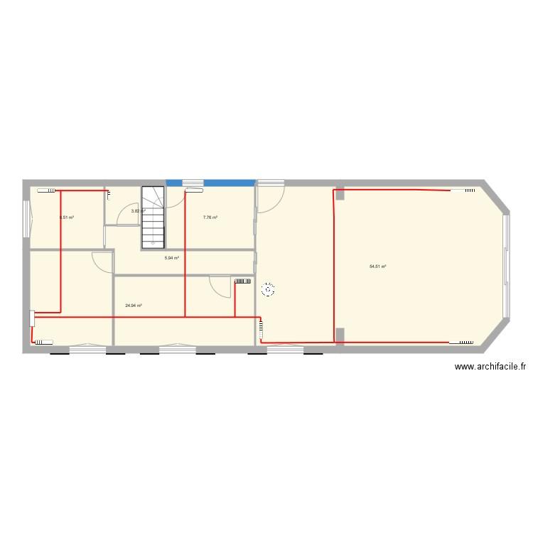Plan chauffage plan 6 pi ces 103 m2 dessin par patrice1955 for Chauffage watt par m2