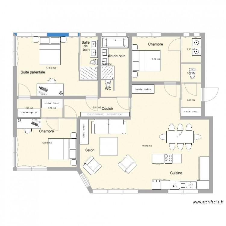Appartement cuisine am ricaine plan 11 pi ces 114 m2 dessin par olaurendeau for Plan cuisine americaine