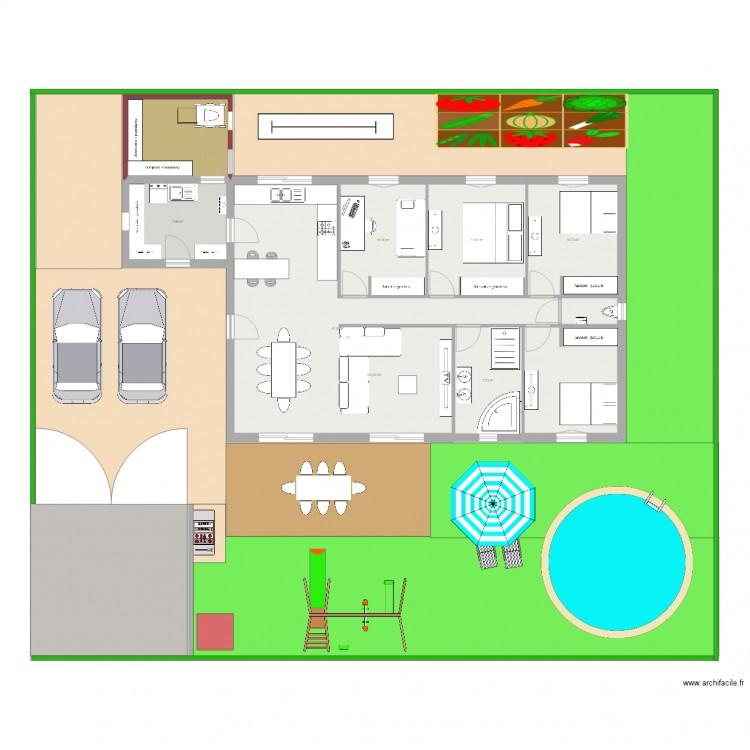 Maison 100 m2 plan 8 pi ces 528 m2 dessin par adrienjess for 528 plan