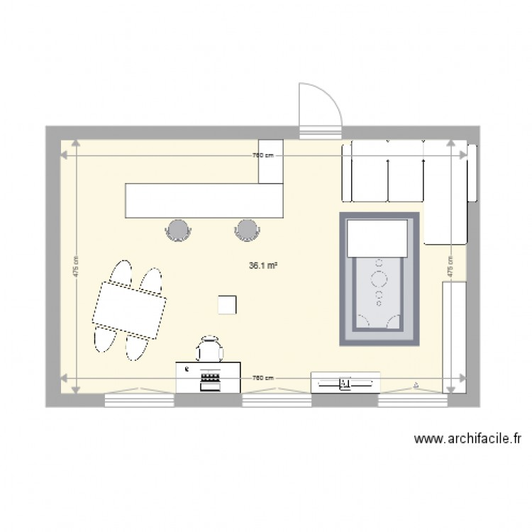 appartement plan 1 pi ce 36 m2 dessin par remydagorne. Black Bedroom Furniture Sets. Home Design Ideas