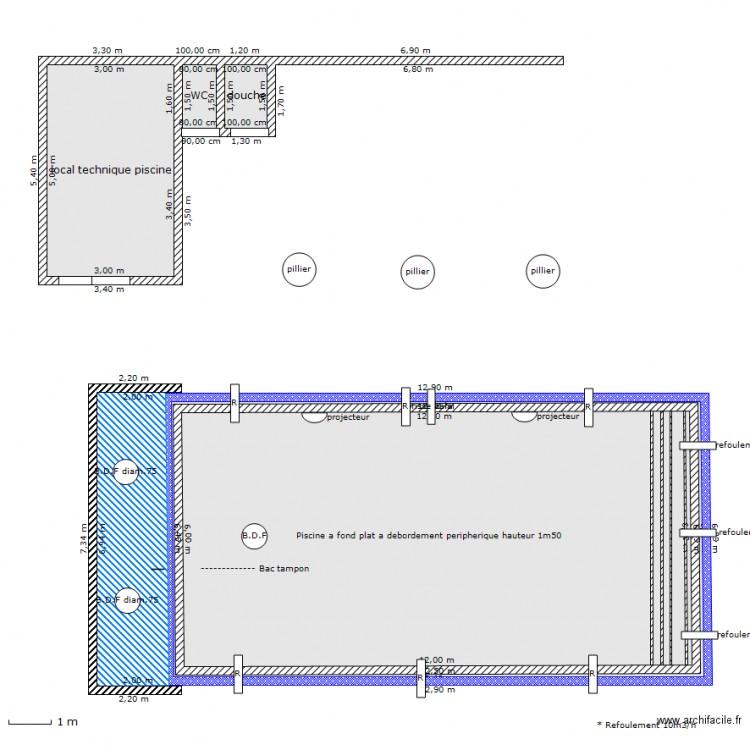 Projet 6x12 debordement peripherique plan 5 pi ces 171 for Plan de piscine a debordement