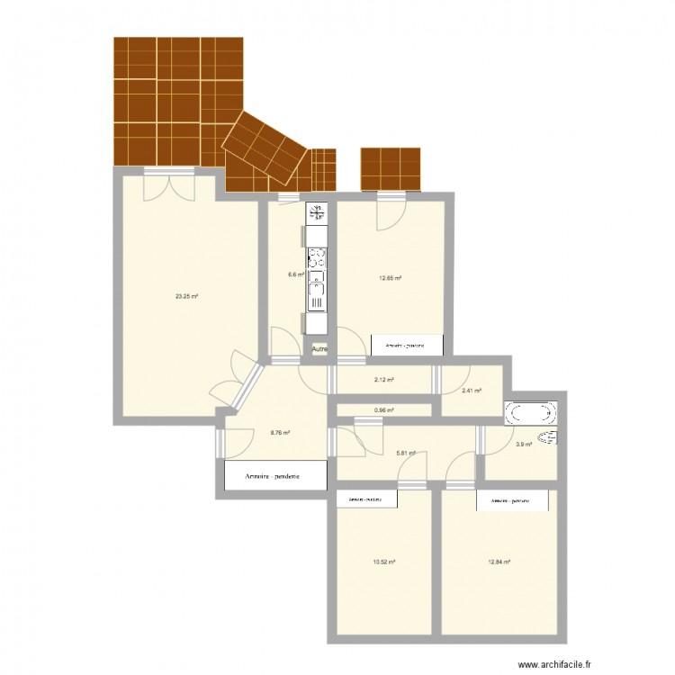 Belleville plan 12 pi ces 90 m2 dessin par floort for Plan de belle villa