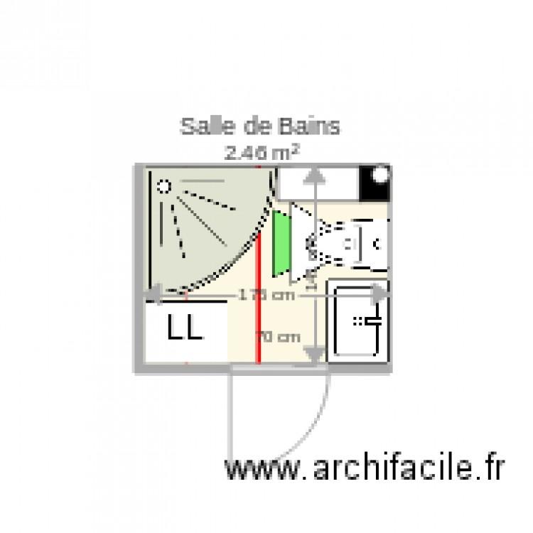 Salle de bains wc angle plan 1 pi ce 2 m2 dessin par phle75 for Salle de bain 2 m2