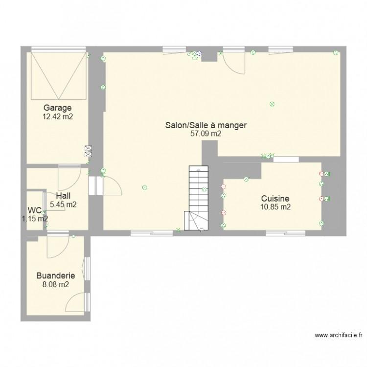maison electricit plan 7 pi ces 97 m2 dessin par. Black Bedroom Furniture Sets. Home Design Ideas