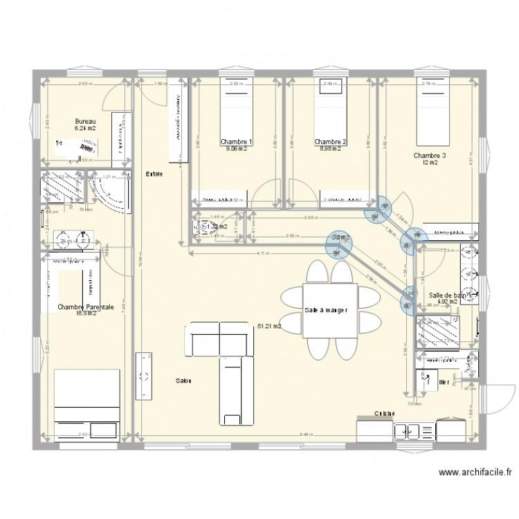 maison carree plan 9 pi ces 118 m2 dessin par nautile3037. Black Bedroom Furniture Sets. Home Design Ideas