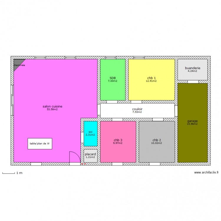 maison sans entr e plan 10 pi ces 125 m2 dessin par bubullina. Black Bedroom Furniture Sets. Home Design Ideas