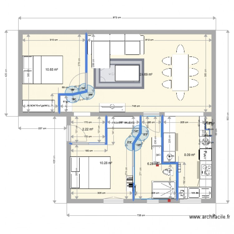 plan appartement 1 plan 7 pi ces 62 m2 dessin par. Black Bedroom Furniture Sets. Home Design Ideas