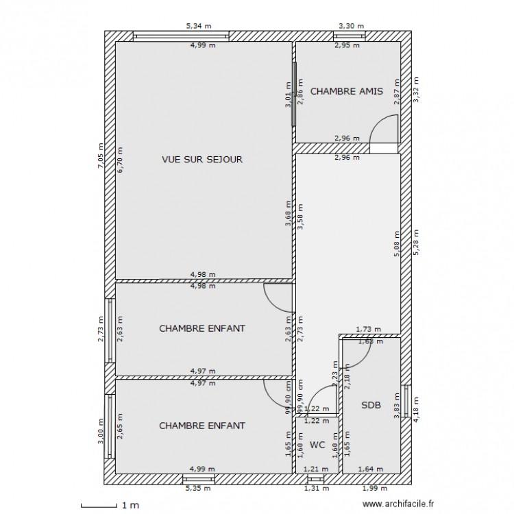 Maison Rectangle Etage Plan 7 Pieces 94 M2 Dessine Par Lclement