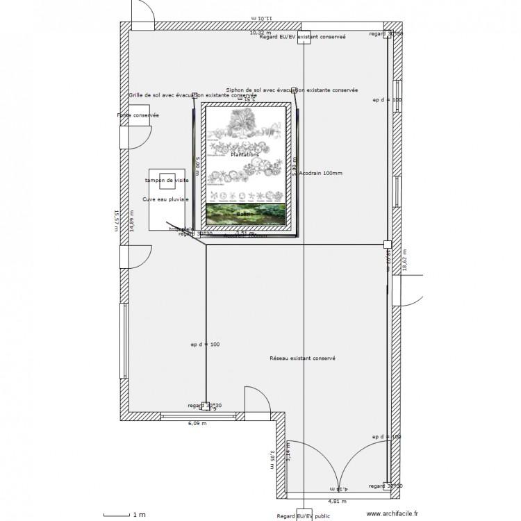 amenagement cour exterieure plan 2 pi ces 181 m2 dessin par sardinella. Black Bedroom Furniture Sets. Home Design Ideas