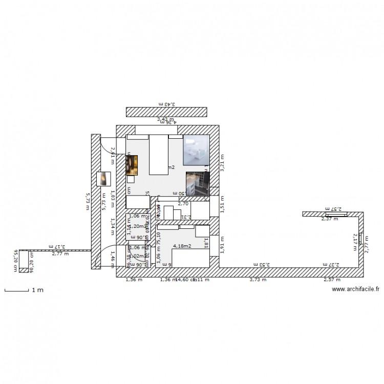 Essai salle de bain plan 4 pi ces 16 m2 dessin par auroced for Salle de bain 4 m2