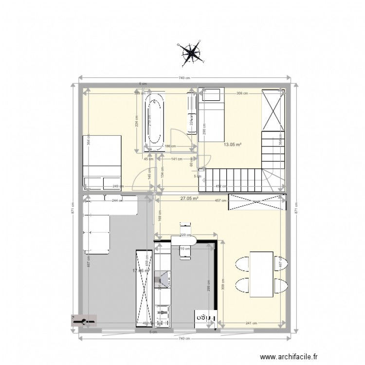 Projet appartement plan de masse plan 3 pi ces 58 m2 for Projet appartement