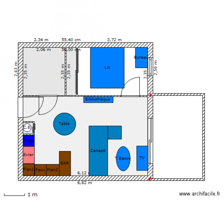 Appartement t2 vallon du macchionne plan 4 pi ces 30 m2 dessin par squalclad - Plan appartement 30 m2 ...