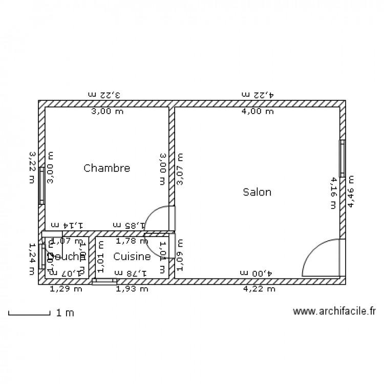 Studio Moderne De Yaouba Plan 4 Pieces 28 M2 Dessine Par Edson