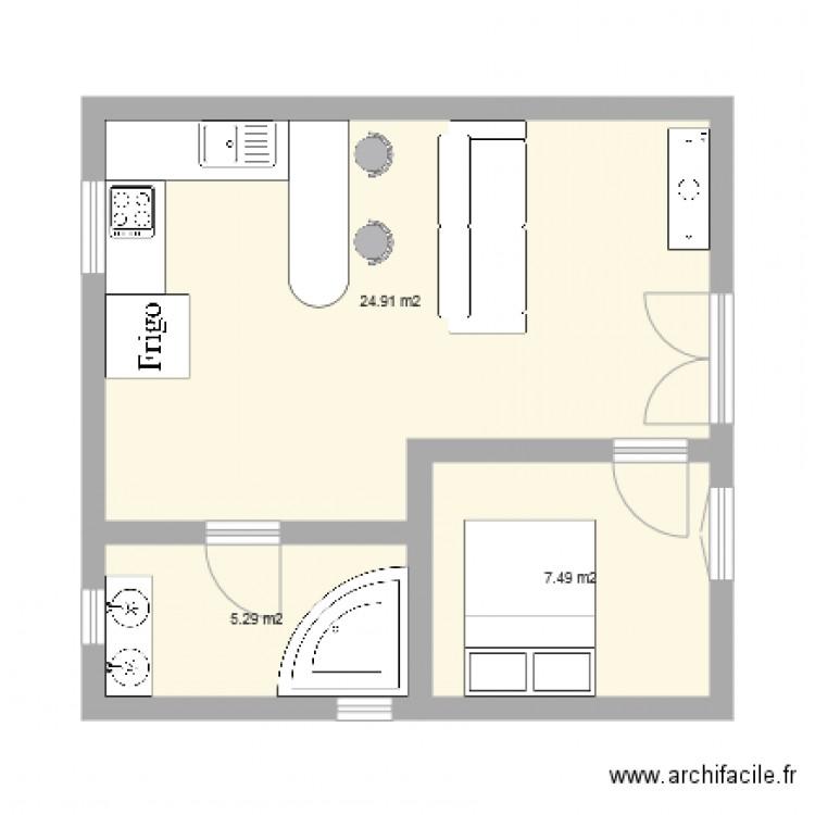 plan bungalow 40 m2. Black Bedroom Furniture Sets. Home Design Ideas