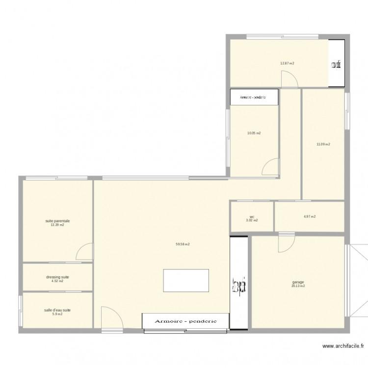 plan maison avec garage 2 plan 10 pi ces 146 m2 dessin par cyrilga. Black Bedroom Furniture Sets. Home Design Ideas