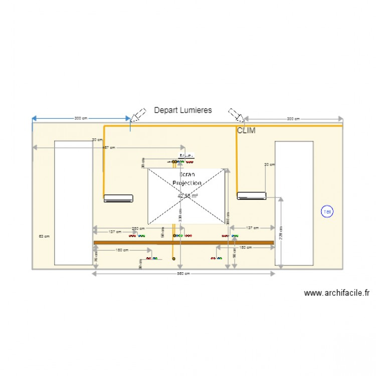 Mur fenetre plan 1 pi ce 43 m2 dessin par hotenet for Fenetre plan