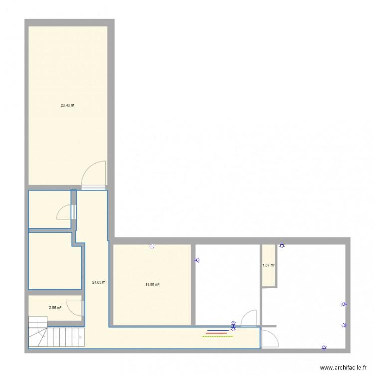 Maison cuisine agrandie electricit plan 5 pi ces 64 m2 for Plan de maison 5 pieces