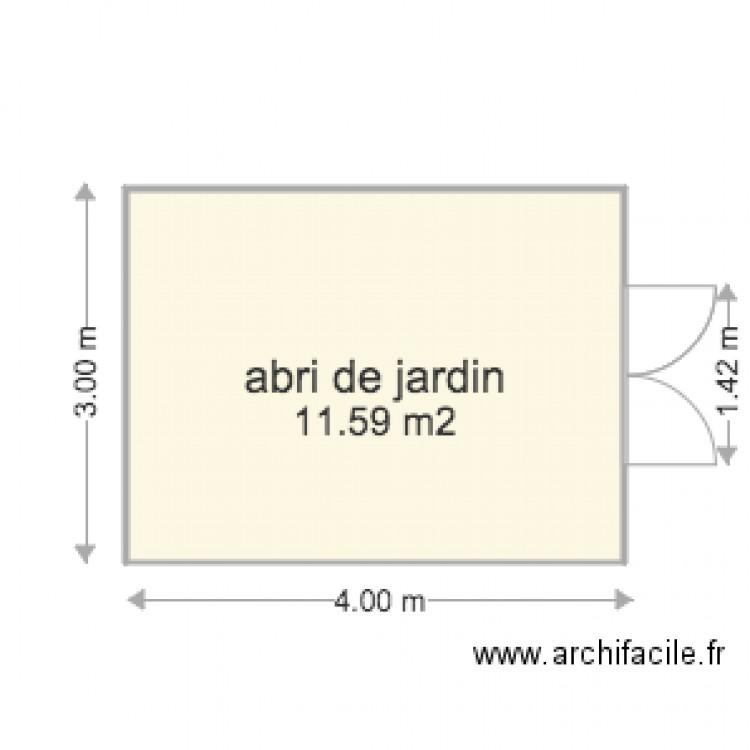 Abri de jardin plan 1 pi ce 12 m2 dessin par lemarsala - Abri jardin grande taille ...