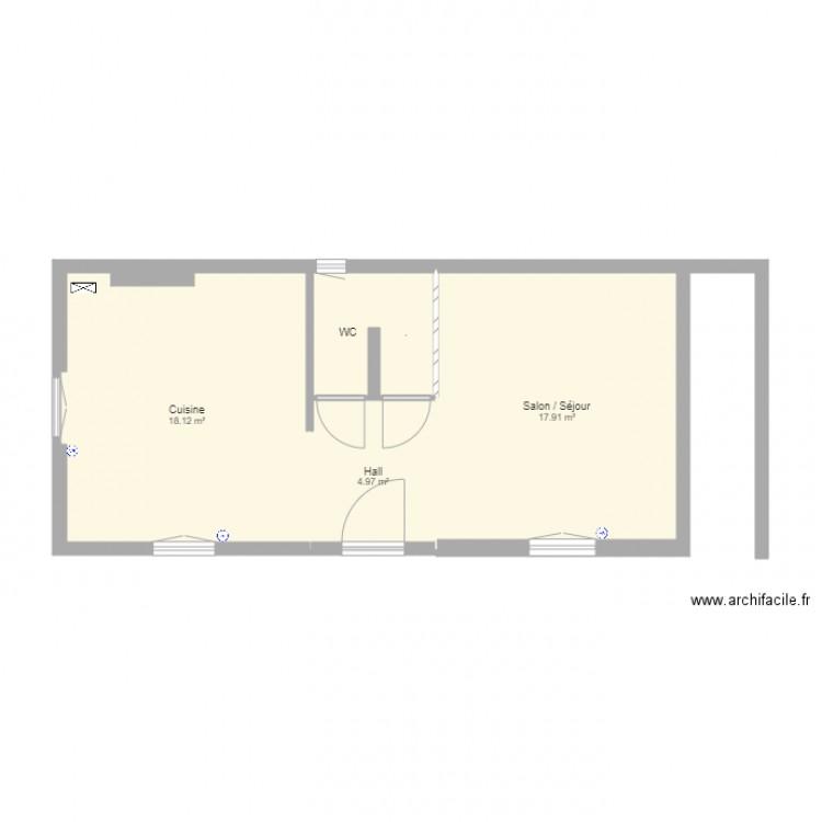 Plan gruson epernay rdc plan 5 pi ces 45 m2 dessin par for Plan epernay
