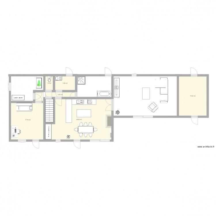 Maison entiere cuisine plan 6 pi ces 78 m2 dessin par for Cuisine entiere