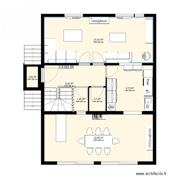 rdc maison avec cuisine modifier - Plan 7 pièces 65 m2 dessiné par siret...