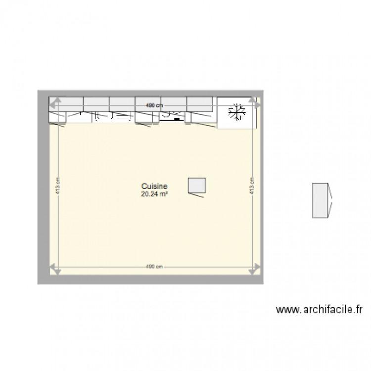 Projet cuisine plan 1 pi ce 20 m2 dessin par piandest for Projet cuisine en ligne