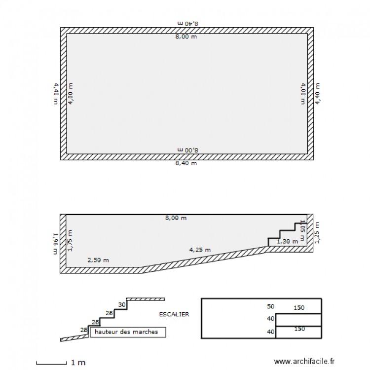 Piscine 8x4 plan 2 pi ces 44 m2 dessin par sansan33 for Plan de piscine a debordement