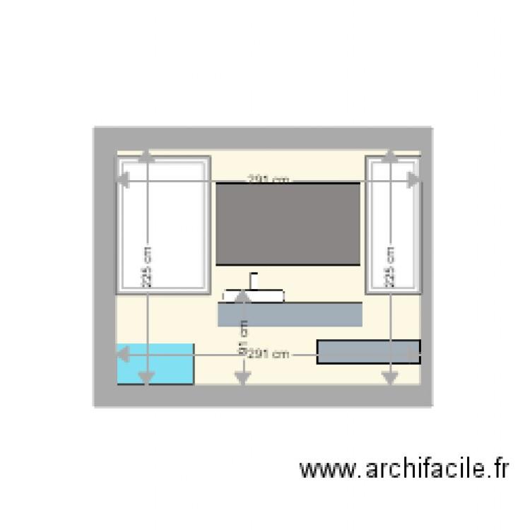 Salle de bain face fen tres plan 1 pi ce 7 m2 dessin for Salle de bain 7 5 m2