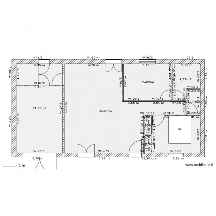 maison f3 plan 8 pi ces 83 m2 dessin par oli. Black Bedroom Furniture Sets. Home Design Ideas