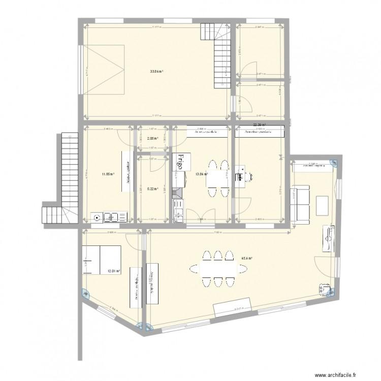 am nagement bo 2 plan 8 pi ces 147 m2 dessin par cb69. Black Bedroom Furniture Sets. Home Design Ideas
