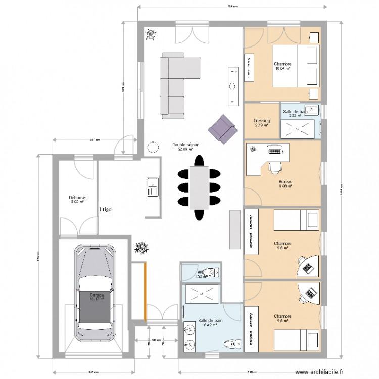 Sans couloir plan 11 pi ces 123 m2 dessin par sianah - Plan maison sans couloir ...