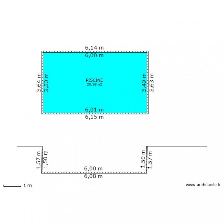 Plan en coupe piscine plan 1 pi ce 21 m2 dessin par gda for Exemple de plan de coupe