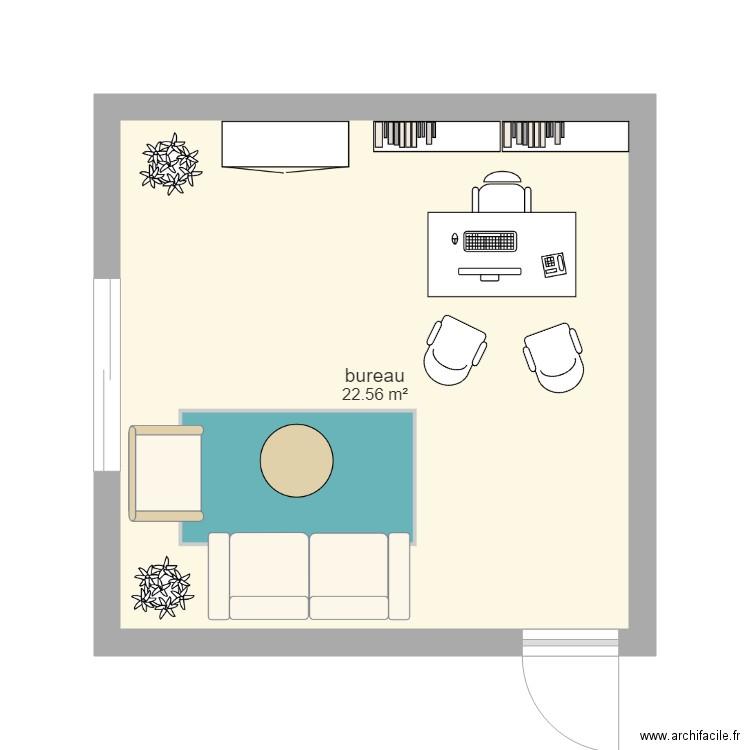 Bureau plan 1 pi ce 23 m2 dessin par carinab for Nombre de m2 par personne bureau