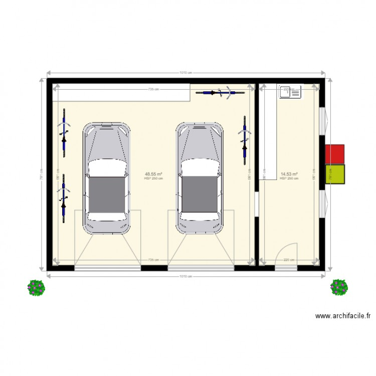 Plan double garage atelier int rieur plan 2 pi ces 63 m2 for Plan de garage independant