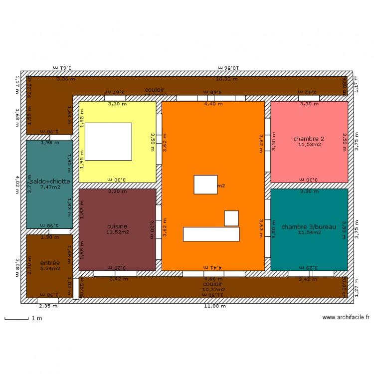 Maison japonisante plan 9 pi ces 115 m2 dessin par mariemma for Taille moyenne maison