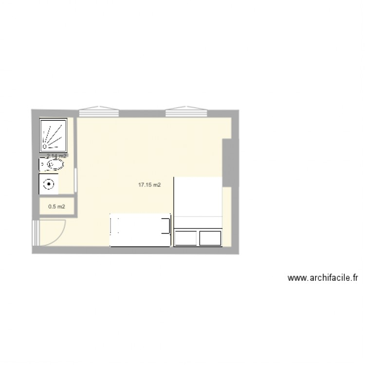 studio 20m2 plan 3 pi ces 20 m2 dessin par celialec. Black Bedroom Furniture Sets. Home Design Ideas