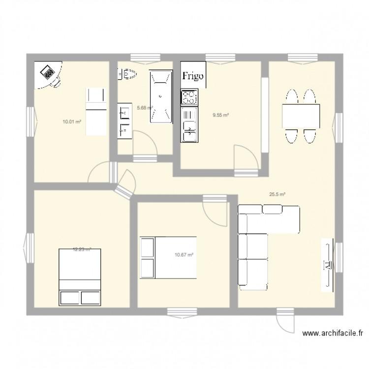 plan appart plan 6 pi ces 74 m2 dessin par bolla. Black Bedroom Furniture Sets. Home Design Ideas