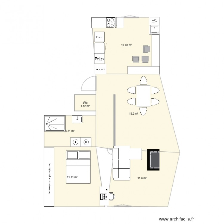 Appartement vaise plan 6 pi ces 60 m2 dessin par vanessaf for Bureau vaise