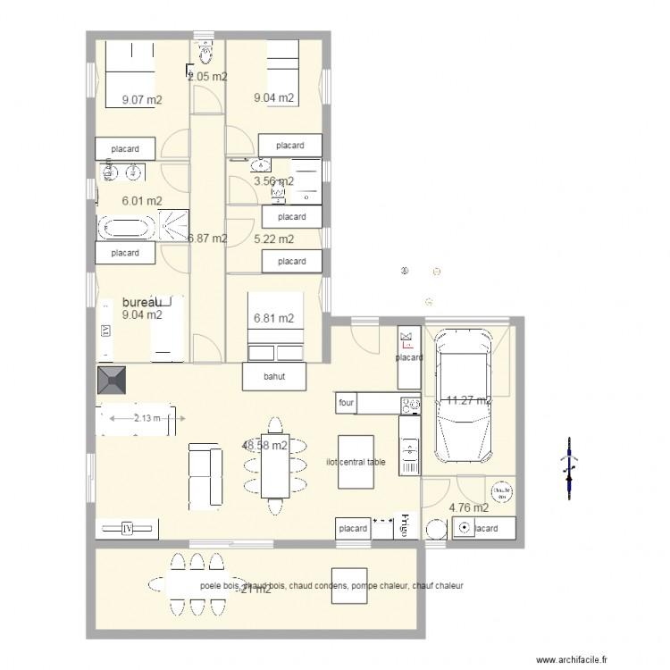 Plan maison plain pied 3 chambres 1 bureau stunning plan for Plan maison plain pied 3 chambres 1 bureau