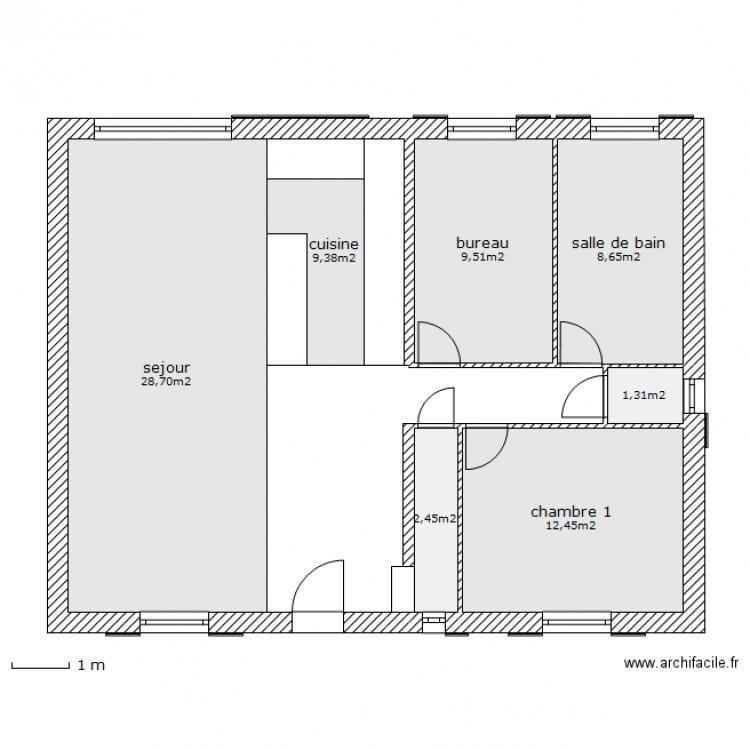plan maison 72m2