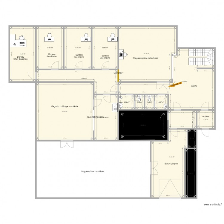 Agence amiens v4 rdc plan 34 pi ces 539 m2 dessin par for 539 plan