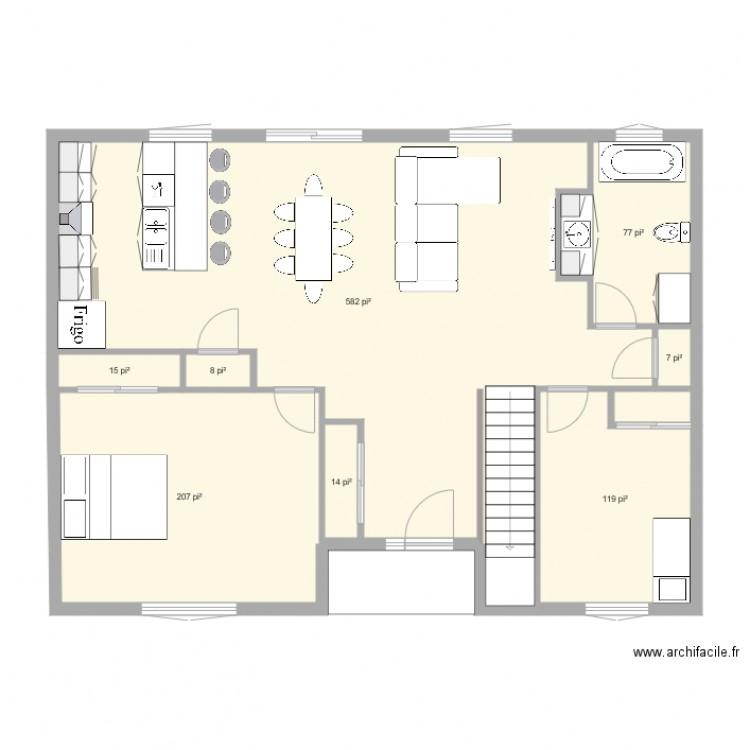 rez de chauss plan 8 pi ces 96 m2 dessin par excavation dalpe. Black Bedroom Furniture Sets. Home Design Ideas