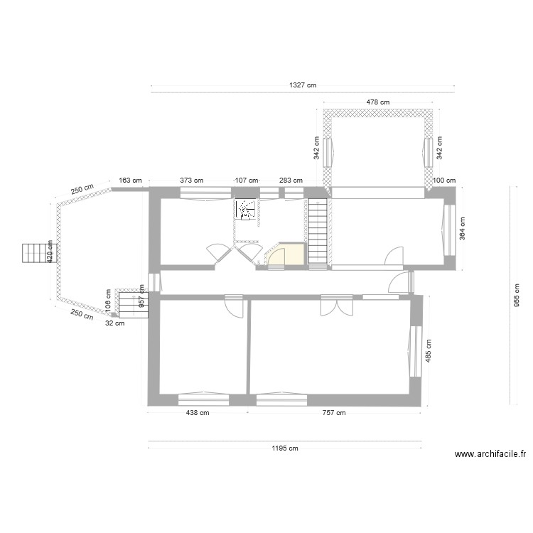 maison extension plan 2 pi ces 16 m2 dessin par nicolas marie jo michel. Black Bedroom Furniture Sets. Home Design Ideas
